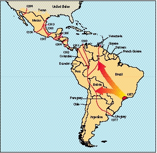 Spread of Africanized killer bees in South America